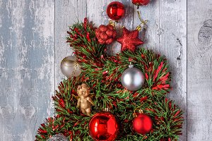 Christmas ornaments composition