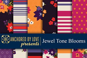 Jewel Tone Blooms Digital Paper