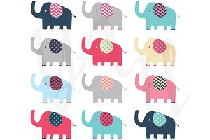 Colorful Elephant Clip Art