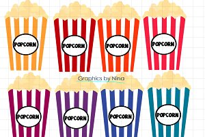 Colorful Popcorn Clipart