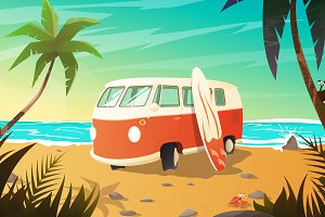 Old bus standing on the beach.Vector