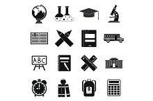 School icons set, simple ctyle