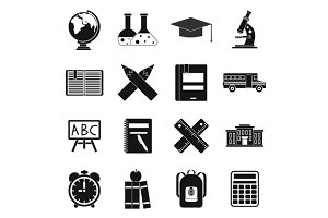 School icons set, simple ctyle