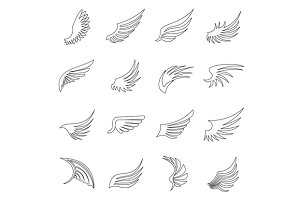 Wing icons set, outline ctyle