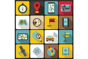 Navigation icons set, flat ctyle
