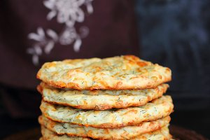 stack of cheese flat cakes