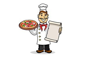 Italian chef with pizza and menu