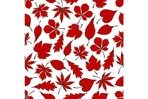Red autumnal fallen leaves pattern