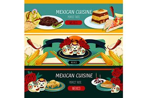 Mexican cuisine restaurant banners