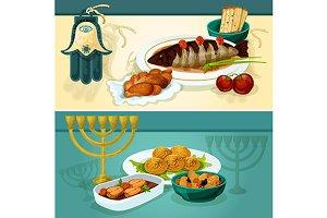 Jewish cuisine festive dinner