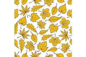 Yellow leaves seamless pattern