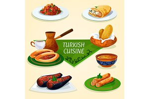 Turkish cuisine dinner with dessert