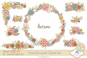Autumn Floral Bouquet Clipart&Vector