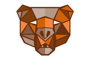 Brown Bear Head Low Polygon