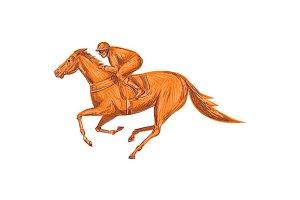 Jockey Horse Racing Drawing