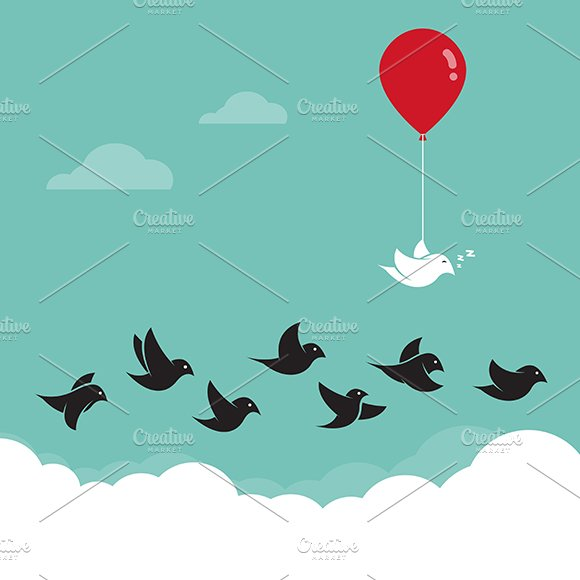 Bird in the sky and red balloons.