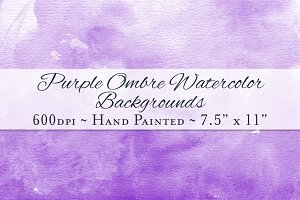 Purple Ombre Watercolor Backgrounds