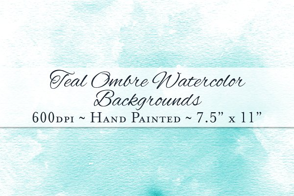 Teal Ombre Watercolor Backgrounds