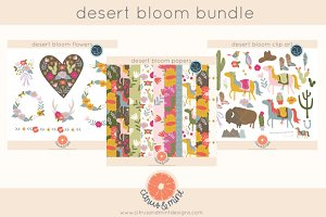 Desert Bloom Clip Art and Papers