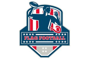 Flag Football QB Player Passing Ball