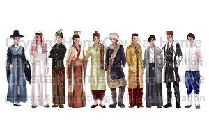 Asian male national costume cartoon