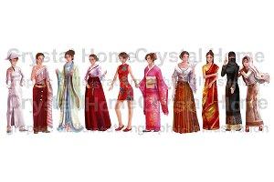 Asian girl national costume cartoon