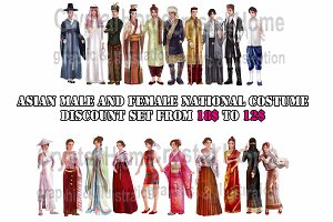 Asian people national costume set!