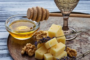 Cheese, nuts, honey and white wine