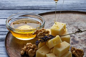 Cheese, nuts, honey
