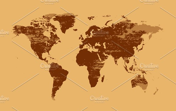 World Map Grunge Brown Color Web Elements Creative Market