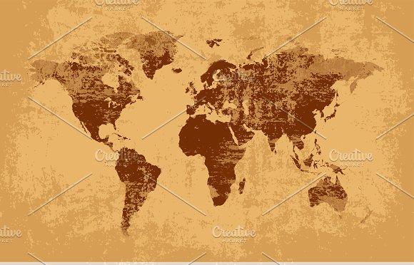 Grunge world map brown web elements creative market gumiabroncs Gallery