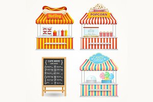 Street Food Market Set. Vector