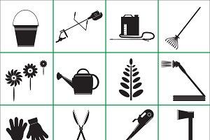 Set  Icons of Garden Tools