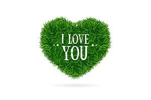 Grass  Heart Card. Vector