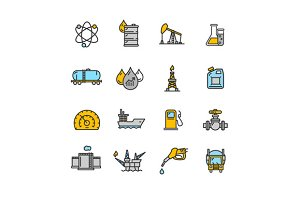 Oil Industry Outline Icon Set.