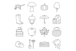 Autumn icons set, outline ctyle