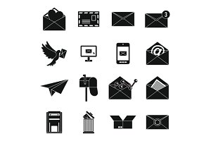 Email icons set, simple ctyle
