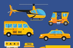 Different taxi transport vector