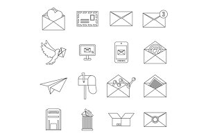 Email icons set, outline ctyle