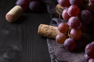 Grapevine on a wooden board. French vineyard. Wine bottle and cork. Dark wood background