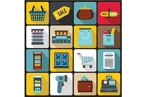 Supermarket icons set, flat ctyle