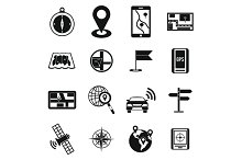 Navigation icons set, simple ctyle