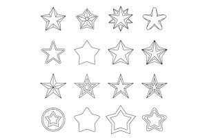 Star icons set, outline ctyle