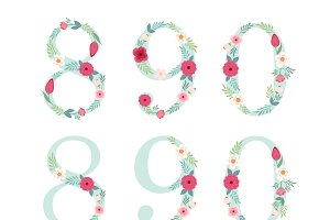 Cute numbers with rustic flowers