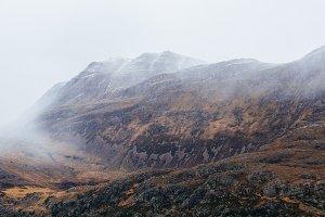 Foggy Mountain Range in Autumn