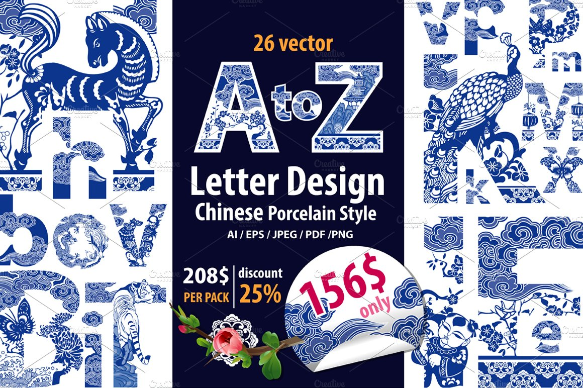 Letter a z chinese style ~ symbol fonts ~ creative market