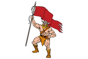 Viking Warrior Brandishing Red Flag