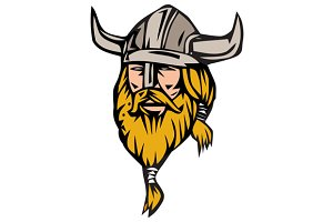 Viking Warrior Head Retro