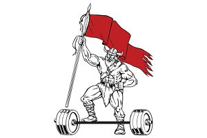Viking Warrior Barbell Waving Flag