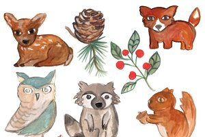 Watercolor Woodland Animals & Flora